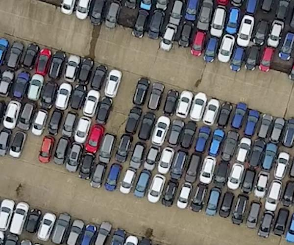 drone shot of robinsons auto logistics site