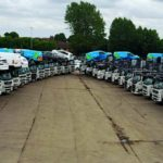 Car Transporters lined up in a 'V' Shape