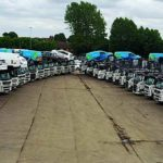 Robinsons autologistics transporters in yard lined up