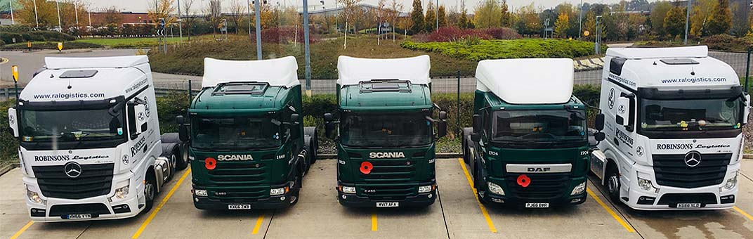 Lorries lined up showing the Traction services from RAL